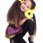 Fashion asian little girl sitting on floor — Stock Photo