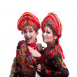 Stock Photo: Two funny russigo-go girls
