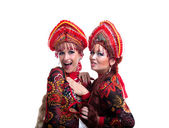Two funny russian go-go girls — Stock Photo