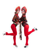 Two russian go-go girls with long braids — Stock Photo