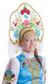 Pretty girl in blue russian costume — Foto de Stock