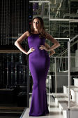 Gorgeous woman posing in long purple dress — Stockfoto