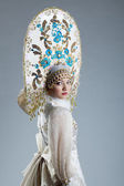 Image of beautiful Russian girl in kokoshnik — Foto Stock