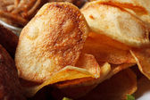 Golden crispy chips, close-up — Stock Photo