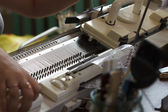 Modern machine for knitting on weaving mill — Stock Photo