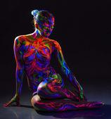 Image of strange glowing naked girl — Stock Photo