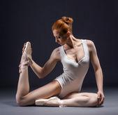 Image of graceful ballet dancer posing in studio — Stock Photo