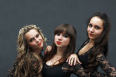 Portrait of three attractive sexy dancers — Stock Photo