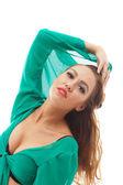 Sensual joven modelo posando en blusa verde — Foto de Stock