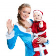 Portrait of happy mom-Snow Maiden and baby-Santa — Stock Photo