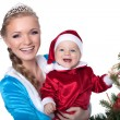 Portrait of happy baby-Santa and mom-Snow Maiden — Stock Photo #30631955