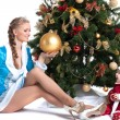 Happy mom and kid posing in Christmas costumes — Stock Photo