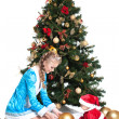 Snow Maiden and baby-Santa with Christmas tree — Stock Photo #30632035