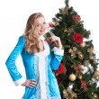 Portrait of cute blonde dressed as Snow Maiden — Stock Photo #30632111