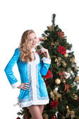 Portrait of cute blonde dressed as Snow Maiden — Stock Photo