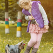 Adorable little girl playing with her puppy — Stock Photo