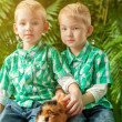 Image of cute young twins posing with guinea pig — Stock Photo