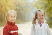 Portrait of pretty young sisters posing in park — Stock Photo