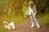 Cute curly-haired girl walking with dog in park — Stock Photo