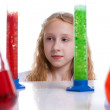 Portrait of little scientist with test-tubes — Stock Photo