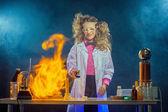 Curious scientist experimenting in laboratory — Foto de Stock