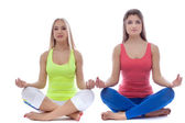 Pair of pretty young girls meditates in studio — 图库照片