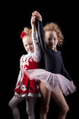 Cute young girls in dresses for performances — Stock Photo