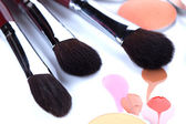 Professional brushes for applying blush — 图库照片
