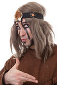 Shot of middle-aged shaman with frightening eyes — Stock Photo