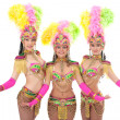 Cute girls posing in colorful carnival costumes — Stock Photo #42210385