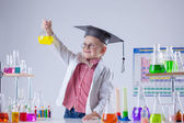 Little chemist posing with variety of reactants — Stock Photo