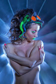 Hot topless woman with ultraviolet makeup — Stock Photo