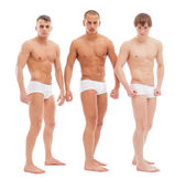 Handsome naked guys posing in white briefs — Stock Photo