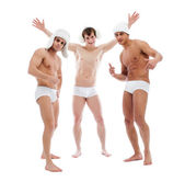 Image of cheerful young guys posing in briefs — Stock Photo