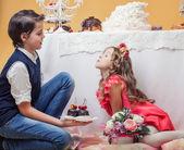 Enchanting children posing in studio — Stock Photo