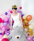Elegant adult woman posing like little princess — Stockfoto