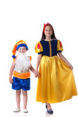 Beautiful Snow White and funny gnome holding hands — Stock Photo