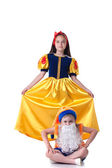 Beautiful Snow White posing with funny gnome — Stockfoto