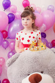 Image of amusing little girl with big teddy bear — Stockfoto