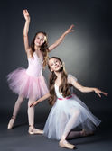 Image of two lovely ballerinas posing at camera — Stock Photo