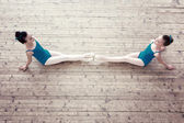 Top view of adorable ballerinas posing in studio — Stock Photo