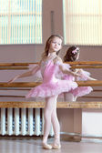 Image of petite ballerina posing in pink tutu — Stock Photo