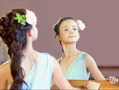 Reflection of graceful little ballerina, close-up — Stock Photo