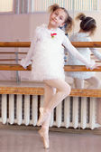 Image of funny little ballerina posing at camera — Stock Photo