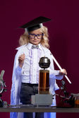 Lumped little blonde conducting an experiment — Stock Photo