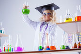 Young chemist posing with variety of reagents — Stock Photo
