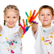 Stock Photo: Kids with ​​hands in paint