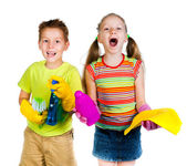 Kids with detergent — Stock Photo