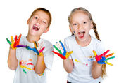 Kids with ​​hands in paint — Stock Photo