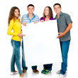 Group with banner — Stock Photo